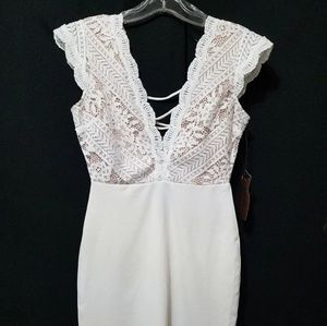 Dresses & Skirts - White lace knee length dress